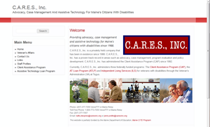 Screen shot of CARES, Inc. website