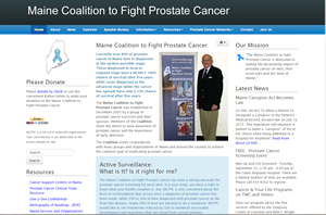 Screen shot of Maine Coalition to Fight Prostate Cancer