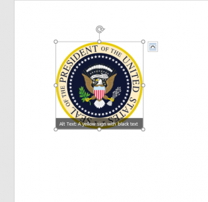 Another screen shot showing the seal of the president of the united states with a superimposed suggested Alt description